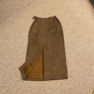 Vintage Longhorn faux suede midi skirt